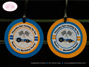 Race Car Birthday Party Favor Tags Blue Orange Circle Driver Boy Girl 1st 2nd 3rd 4th 5th 6th 7th 8th Boogie Bear Invitations Scott Theme