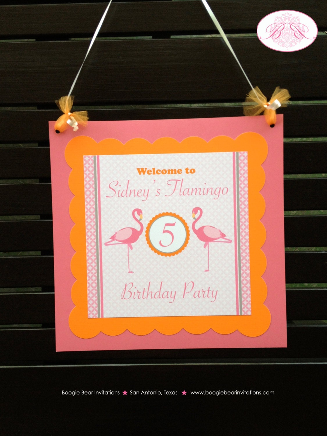 Pink Flamingo Birthday Party Door Banner Flamingle Orange Tropical Girl Zoo Miami Beach Florida Island Boogie Bear Invitations Sidney Theme