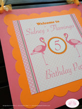 Load image into Gallery viewer, Pink Flamingo Birthday Party Door Banner Flamingle Orange Tropical Girl Zoo Miami Beach Florida Island Boogie Bear Invitations Sidney Theme