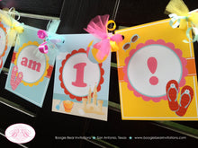Load image into Gallery viewer, Beach I am 1 Birthday Highchair Banner Party Flip Flop Ball Pool Pink Girl Splash Swim 1st 2nd 3rd 4th Boogie Bear Invitations Sunnie Theme