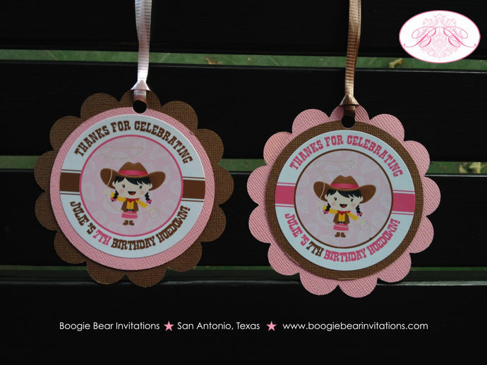 Pink Cowgirl Birthday Party Favor Tags Wild West Paisley Hat Lasso Horse 1st 2nd 3rd 4th 5th 6th 7th 8th Boogie Bear Invitations Julie Theme