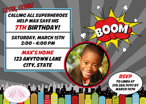 Superhero Photo Birthday Party Invitation Boy Girl 1st 2nd 3rd 4th 5th 6th 7th Boogie Bear Invitations Max Theme Paperless Printable Printed
