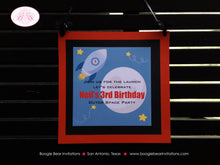 Load image into Gallery viewer, Outer Space Birthday Party Door Banner Planets Stars Moon Rocket Ship Mission 1st 2nd 3rd 4th 5th 6th 7th Boogie Bear Invitations Neil Theme