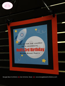 Outer Space Birthday Party Door Banner Planets Stars Moon Rocket Ship Mission 1st 2nd 3rd 4th 5th 6th 7th Boogie Bear Invitations Neil Theme