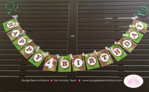 Pink Rainforest Birthday Party Banner Girl Happy Reptile Snake Frog 1st 2nd 3rd 4th 5th 6th 7th 8th 9th Boogie Bear Invitations Sophia Theme