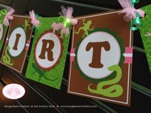 Load image into Gallery viewer, Pink Rainforest Birthday Party Banner Girl Happy Reptile Snake Frog 1st 2nd 3rd 4th 5th 6th 7th 8th 9th Boogie Bear Invitations Sophia Theme