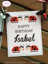 Load image into Gallery viewer, Ladybug Birthday Party Name Banner Red Black Tea Aqua Girl Little Lady Bug 1st 2nd 3rd 4th 5th 6th 7th Boogie Bear Invitations Isabel Theme