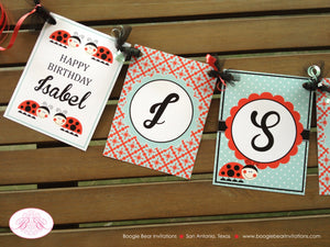 Ladybug Birthday Party Name Banner Red Black Tea Aqua Girl Little Lady Bug 1st 2nd 3rd 4th 5th 6th 7th Boogie Bear Invitations Isabel Theme