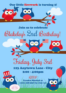 4th of July Birthday Party Invitation Day Owls Girl Boy 1st 2nd 3rd 4th Boogie Bear Invitations Paperless Printable Printed Blakeley Theme