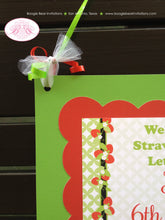 Load image into Gallery viewer, Strawberry Girl Party Door Banner Birthday Red Green Orchard Summer 1st 2nd 3rd 4th 5th 6th 7th 8th 9th Boogie Bear Invitations Katie Theme