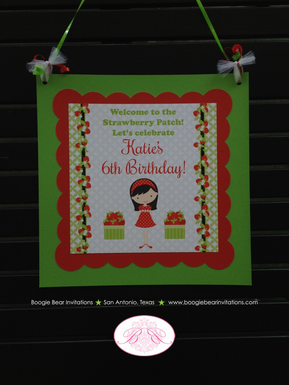 Strawberry Girl Party Door Banner Birthday Red Green Orchard Summer 1st 2nd 3rd 4th 5th 6th 7th 8th 9th Boogie Bear Invitations Katie Theme