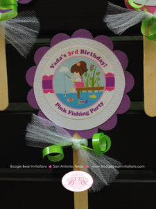 Fishing Girl Birthday Party Cupcake Toppers Pink Purple Dock Frog Butterfly 1st 2nd 3rd 4th 5th 6th 7th Boogie Bear Invitations Vada Theme