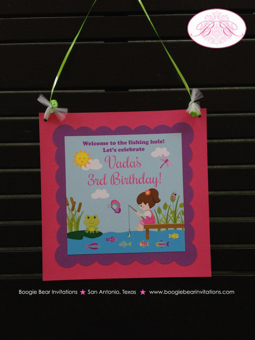 Fishing Girl Birthday Party Door Banner Lake Pink Purple Boating Frog Butterfly 1st 2nd 3rd 4th 5th 6th Boogie Bear Invitations Vada Theme