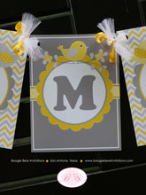 Load image into Gallery viewer, Yellow Grey Baby Shower Party Banner Birds Owls Boy Girl Little Chevron Laurel Flower Retro 1st Birthday Boogie Bear Invitations Lara Theme