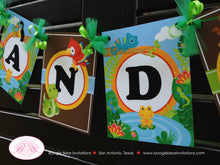 Load image into Gallery viewer, Rainforest Birthday Party Name Banner Amazon Tropical Jungle Boy Girl Tiger Leaf 1st 2nd 3rd 4th 5th Boogie Bear Invitations Chandler Theme