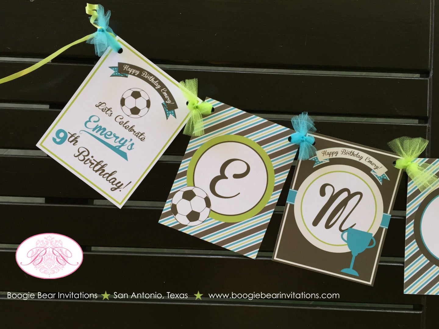 Retro Soccer Birthday Name Party Banner  Green Blue Brown Girl Boy 1st 2nd 3rd 4th 5th 6th 7th 8th 9th Boogie Bear Invitations Emery Theme