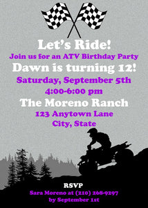 Purple ATV Birthday Party Invitation Black Girl 1st 2nd 3rd 4th 5th 6th 7th 8th 9th 10th 12th Boogie Bear Invitations Dawn Theme Printed