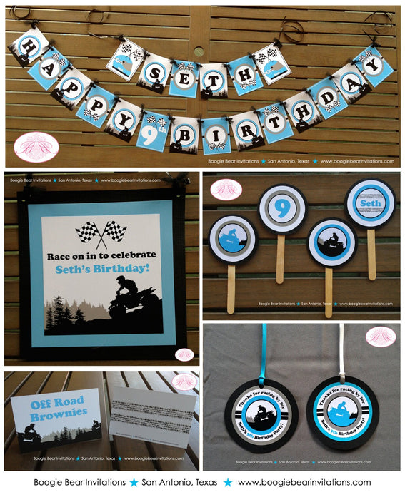 ATV Off Road Birthday Party Package Boy Blue Racing Door Happy Banner Favor Tag 1st 6th 7th 8th 9th 10th Boogie Bear Invitations Seth Theme
