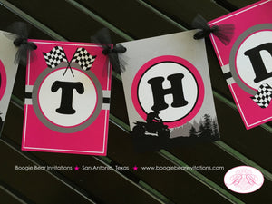 ATV Happy Birthday Party Banner Racing Teen Adult Trail Pink Black Girl 1st 6th 7th 8th 9th 10th Age Boogie Bear Invitations Angela Theme