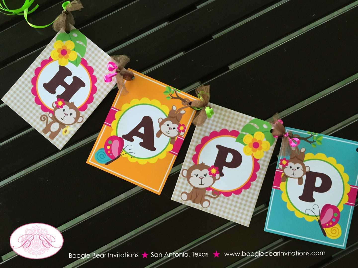 Pink Monkey Happy Birthday Party Banner Amazon Tropical Rainforest Jungle Sun Leaf Girl 1st 2nd 3rd Boogie Bear Invitations Katrina Theme