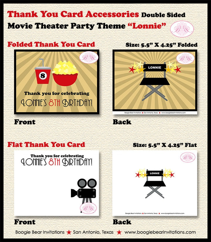 Movie Birthday Party Thank You Card Retro Theater Girl Boy Gold Black 1st 6th 7th 8th 9th 10th Boogie Bear Invitations Lonnie Theme Printed