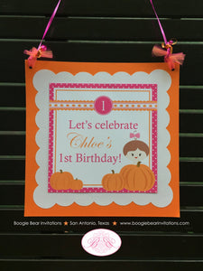 Pink Pumpkin Party Door Banner Birthday Fall Orange Dot Bow Girl Harvest Picking Scallop 1st 2nd 3rd 4th Boogie Bear Invitations Chloe Theme