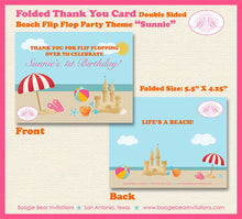 Load image into Gallery viewer, Pink Beach Birthday Party Thank You Card Retro Ocean Girl Swim Flip Flop 1st 4th 5th 6th 7th Boogie Bear Invitations Sunnie Theme Printed