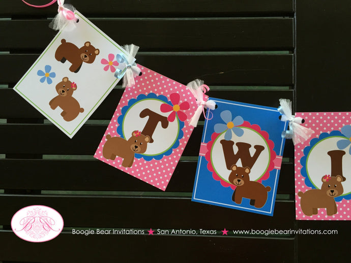 Twin Bear Baby Shower Party Banner Dot Girl Boy Birthday Cute Pink Blue Green Brown Double 1st 2nd Boogie Bear Invitations Patricia Theme