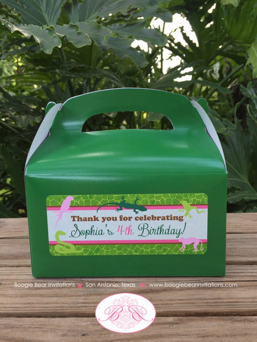 Pink Rainforest Birthday Party Treat Boxes Favor Box Parrot Green Girl 1st 2nd 3rd 4th 5th 6th 7th 8th Boogie Bear Invitations Sophia Theme
