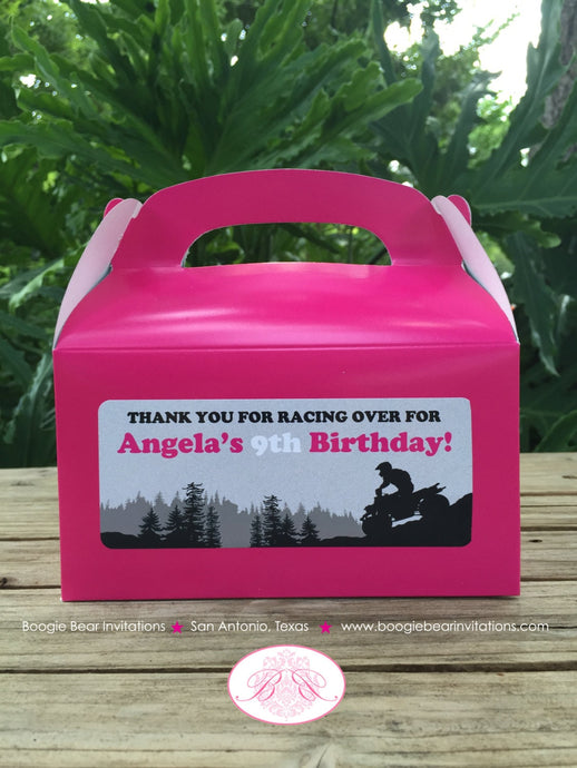 Pink ATV Birthday Party Treat Boxes Favor Tags Bag Girl Black 1st 2nd 3rd 4th 5th 6th 7th 8th 9th 10th Boogie Bear Invitations Angela Theme