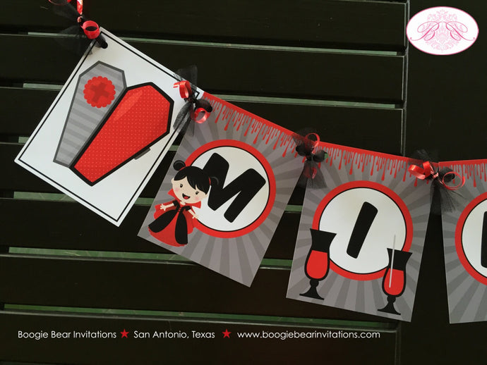 Vampire Girl Birthday Party Name Banner Halloween Blood Fang Bite Coffin 1st 4th 5th 6th 7th 8th 9th 10th Boogie Bear Invitations Mina Theme