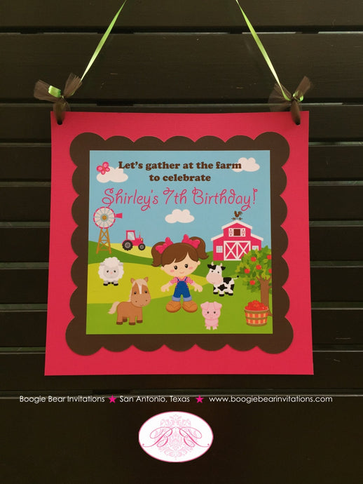 Pink Farm Animals Birthday Door Banner Girl Barn Tractor Country Ranch 1st 2nd 3rd 4th 5th 6th 7th Boogie Bear Invitations Shirley Theme