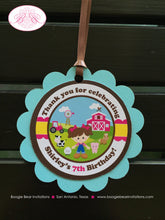 Load image into Gallery viewer, Pink Farm Birthday Party Favor Tags Animals Girl Barn Blue Green Tractor 1st 2nd 3rd 4th 5th 6th 7th Boogie Bear Invitations Shirley Theme