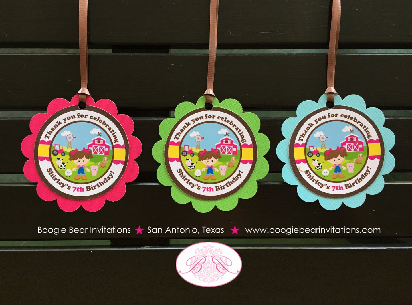 Pink Farm Birthday Party Favor Tags Animals Girl Barn Blue Green Tractor 1st 2nd 3rd 4th 5th 6th 7th Boogie Bear Invitations Shirley Theme