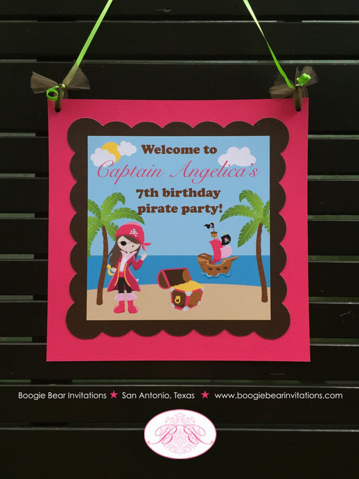Pink Pirate Birthday Party Door Banner Beach Girl Ship Palm Tree 1st 2nd 3rd 4th 5th 6th 7th 8th 9th Boogie Bear Invitations Angelica Theme