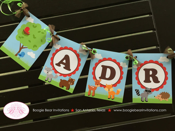Woodland Animals Baby Shower Party Banner Birthday Deer Bird Green Fox Boy Girl 1st 2nd 3rd 4th 5th 6th Boogie Bear Invitations Adrian Theme