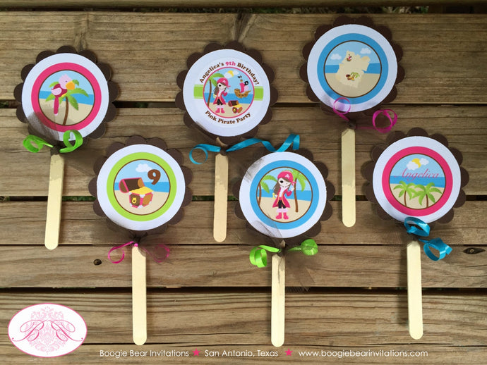 Pink Pirate Birthday Party Cupcake Toppers Beach Girl Green Blue 1st 2nd 3rd 4th 5th 6th 7th 8th 9th Boogie Bear Invitations Angelica Theme