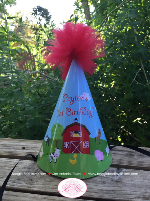 Barn Farm Animals Birthday Party Hat Red Green Country Pom Honoree Girl Boy 1st 2nd 3rd 4th 5th 6th 7th Boogie Bear Invitations Peyton Theme