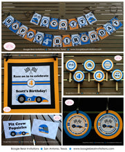 Load image into Gallery viewer, Race Car Driver Birthday Party Package Orange Blue Black Happy Banner 1st 2nd 3rd 4th 5th 6th 7th 8th Boogie Bear Invitations Scott Theme