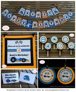 Race Car Driver Birthday Party Package Orange Blue Black Happy Banner 1st 2nd 3rd 4th 5th 6th 7th 8th Boogie Bear Invitations Scott Theme
