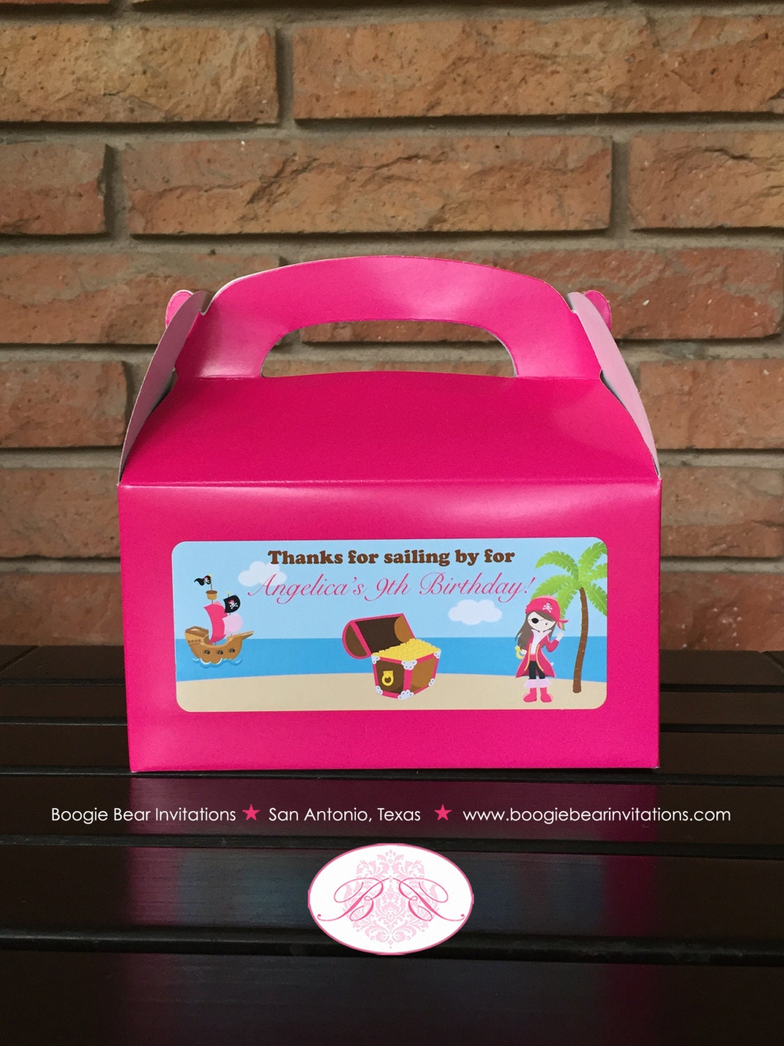 Pink Pirate Girl Birthday Party Treat Boxes Favor Tags  Ship Island Tropical 1st 5th 6th 7th 8th 9th Boogie Bear Invitations Angelica Theme
