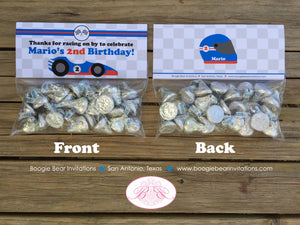 Race Car Birthday Party Treat Bag Toppers Folded Favor Label Boy Girl Red Black Blue 1st 2nd 3rd 4th 5th Boogie Bear Invitations Mario Theme