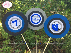 ATV Birthday Party Centerpiece Stick Set Blue Black Boy Girl 1st 2nd 3rd 4th 5th 6th 7th 8th 9th 10th Boogie Bear Invitations Audrina Theme