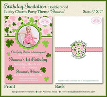 Load image into Gallery viewer, St. Patrick's Birthday Party Invitation Photo Shamrock Girl Pink 1st 2nd Boogie Bear Invitations Shauna Theme Paperless Printable Printed