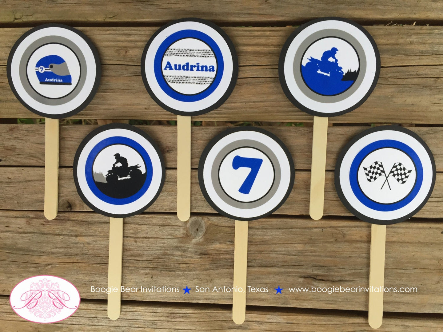 ATV Birthday Party Cupcake Toppers Blue Black Grey Boy Girl 1st 2nd 3rd 4th 5th 6th 7th 8th 9th 10th Boogie Bear Invitations Audrina Theme