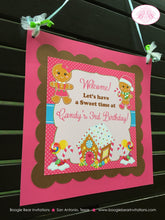Load image into Gallery viewer, Gingerbread Girl Pink Party Door Banner Birthday Winter Lollipop Sweet Christmas House Holiday Magic Boogie Bear Invitations Candy Sue Theme