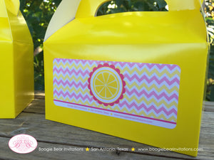 Pink Lemonade Party Treat Boxes Favor Tags Bag Birthday Box Yellow Chevron Girl 1st 2nd 3rd 4th 5th 6th Boogie Bear Invitations Janine Theme