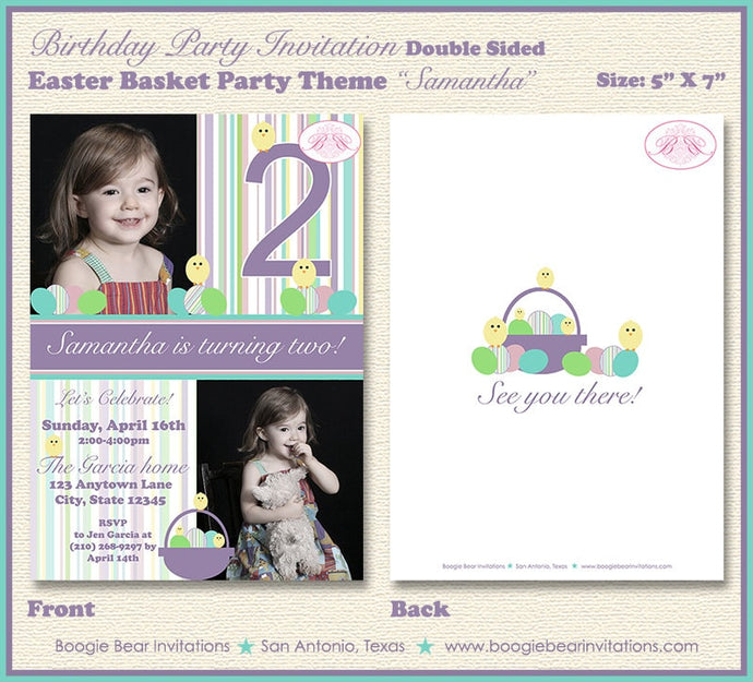 Easter Photo Birthday Party Invitation Eggs Basket Chick 1st 2nd 3rd 4th Boogie Bear Invitations Samantha Theme Paperless Printable Printed