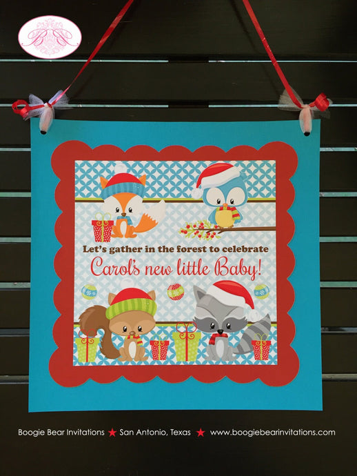 Winter Woodland Animals Baby Shower Door Banner Fox Bird Owl Christmas Squirrel Birthday Party 1st 2nd Boogie Bear Invitations Carol Theme