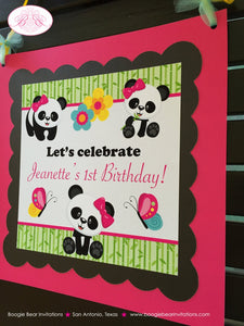 Pink Panda Bear Birthday Door Banner Girl Party Black Blue Green Butterfly Jungle Stripe 1st 2nd 3rd Boogie Bear Invitations Jeanette Theme